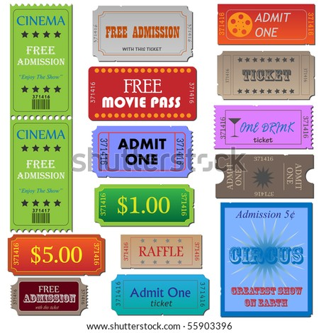 Image of various cinema and admission tickets. - stock vector