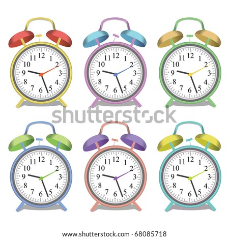 Image of various colorful alarm clocks isolated on a white background. - stock vector