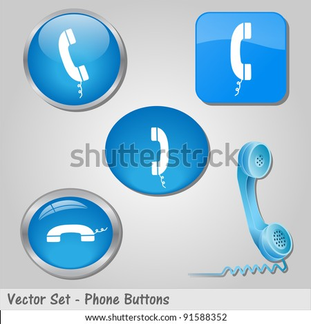Image of various colorful blue phone buttons. - stock vector