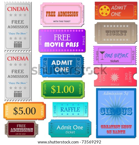Image of various colorful cinema and admission tickets isolated on a white background. - stock vector