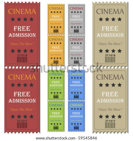 Image of various colorful cinema tickets isolated on a white background. - stock vector