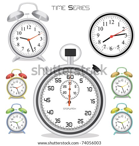 Image of various colorful clocks and a stopwatch isolated on a white background. - stock vector
