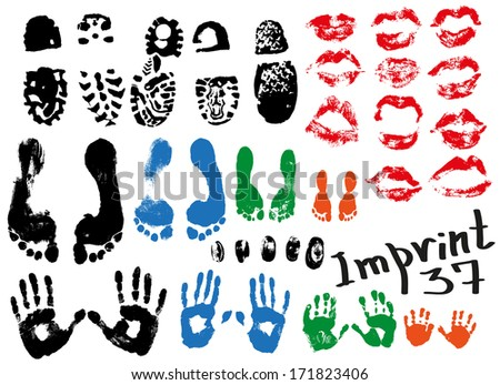 Image of various prints and footprints of adults, children and shoes. - stock vector