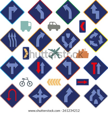 Image of various road signs - stock vector