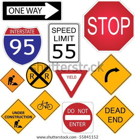 Image of various road signs. - stock vector