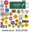 Image of various road signs isolated on a white background. - stock vector