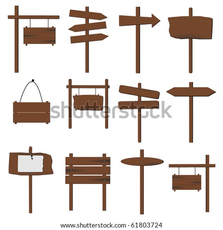 Image of various wooden signs isolated on a white background. - stock vector