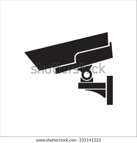 Image of video camera of supervision. Black on a white background. - stock vector