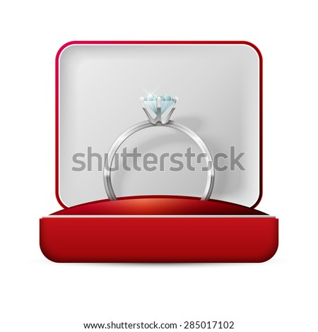 image of wedding rings in a gift box on white background - stock vector