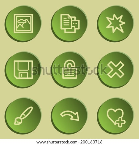 Image viewer web icon set 2, green paper stickers set - stock vector