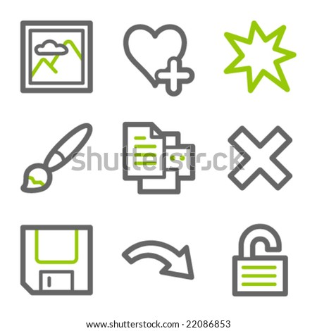 Image viewer web icons, green and gray contour series set 2 - stock vector
