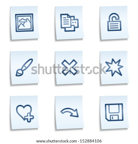 Image viewer web icons set 2, blue notes - stock vector