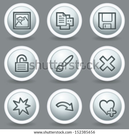 Image viewer web icons set 2, circle grey matt buttons - stock vector