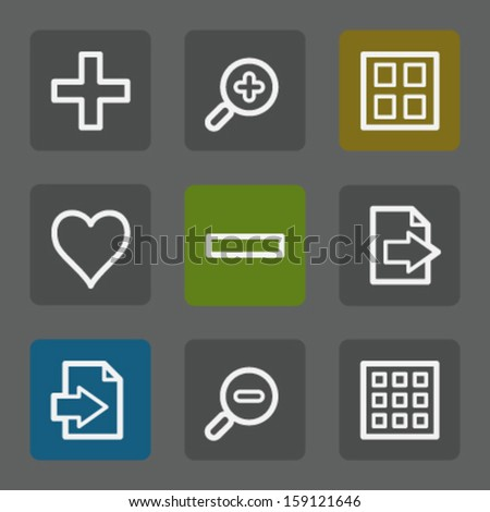 Image viewer web icons set 1, flat buttons - stock vector