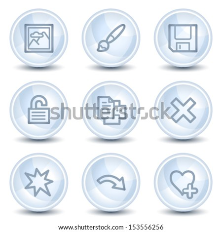 Image viewer web icons set 2, light blue glossy circle buttons - stock vector