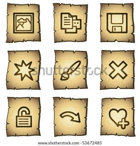 Image viewer web icons set 2, papyrus series - stock vector