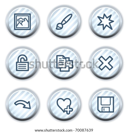 Image viewer web icons set 2, stripped light blue circle buttons