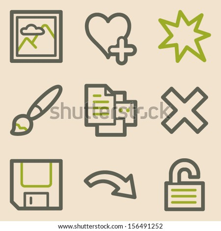Image viewer web icons set 2, vintage series - stock vector