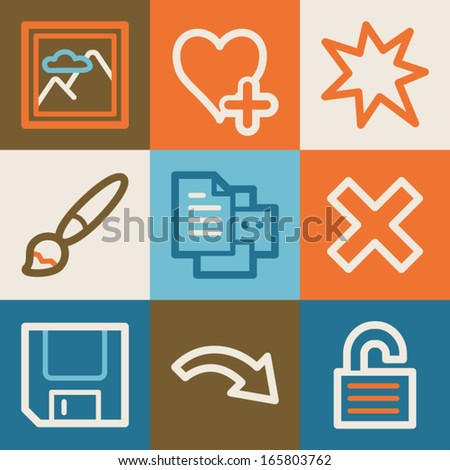 Image viewer web icons, vintage series - stock vector