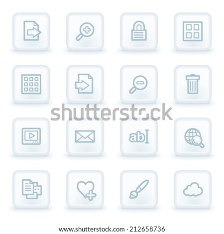 Image viewer web icons,  white square buttons