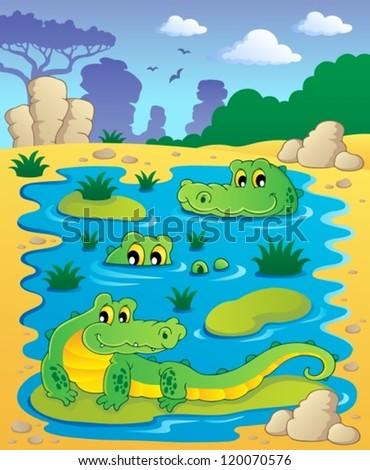 Image with crocodile theme 2 - vector illustration. - stock vector