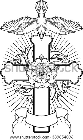 image with cross, flower and the peace bird - stock vector