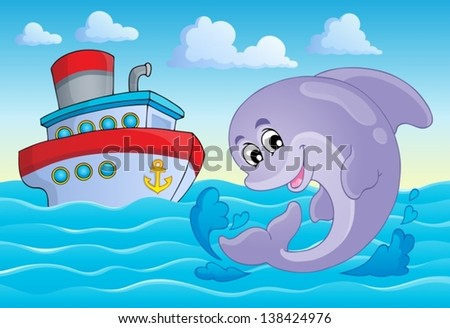 Image with dolphin theme 8 - eps10 vector illustration.