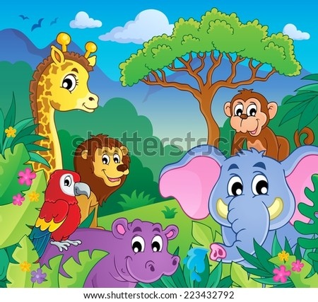 Image with jungle theme 9 - eps10 vector illustration. - stock vector