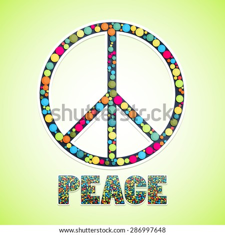 Image Peace Sign Filled Circles Text Stock Vector 286997648