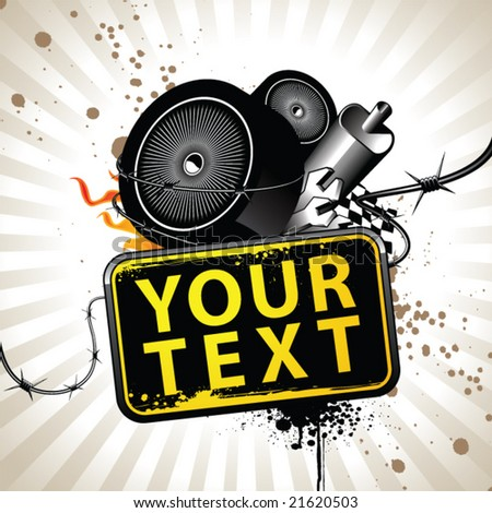 Image with racing attributes and banner for your text - stock vector