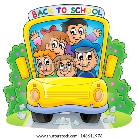 Image with school bus theme 2 - eps10 vector illustration. - stock vector