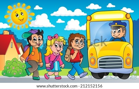 Image with school bus topic 2 - eps10 vector illustration. - stock vector