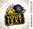 Image with taxi attributes and banner for your text - stock vector