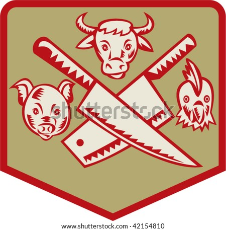 Imagery shows a Cow,pig and chicken with crossed butcher knife set inside a shield - stock vector