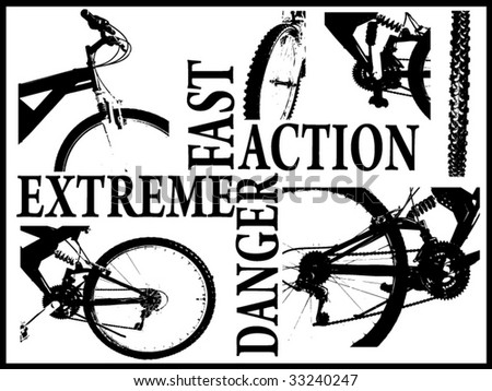 images and words strictly in conjuction with biking - stock vector