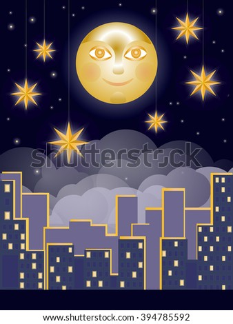 Images of the city at night, the sky and the stars - stock vector
