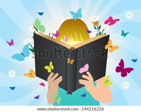 Imagination concept children reading story book, Vector illustration template design - stock vector