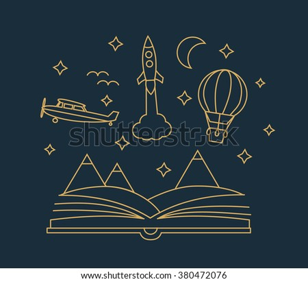 Imagination concept with opened book, landscape, flying rocket, aircraft, hot air balloon, in linear style, vector illustration - stock vector