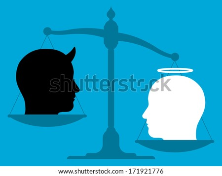 Imbalanced scale with an angel and the devil - stock vector