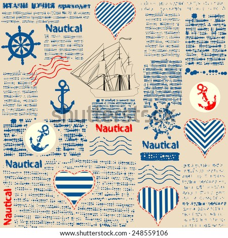Imitation of newspaper in nautical style with grunge elements. Text is unreadable. Seamless background pattern. - stock vector