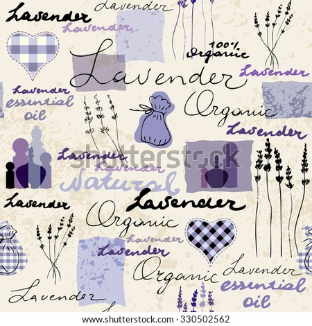 Imitation of retro background Lavender with original inscriptions. Seamless pattern. - stock vector
