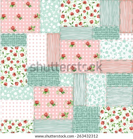 Imitation sewn pieces of fabric in a patchwork style shabby chic. - stock vector