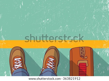 Immigration repatriation journey border man standing.  Color vector illustration. EPS8