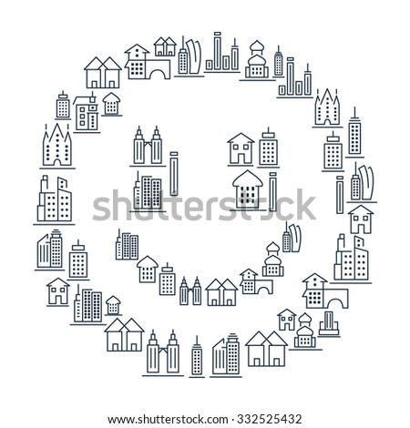 Immovables and Buildings lined icons set on the white background in the form of smile. Vector Illustration, eps10, contains transparencies. - stock vector