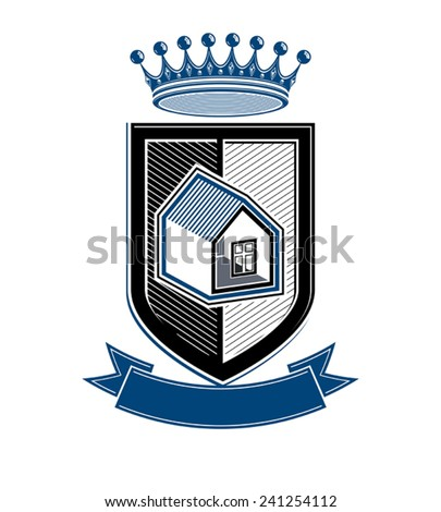Imperial coat of arms, royal house conceptual symbol. Protection shield with 3d king crown. Majestic heraldic design element.  - stock vector