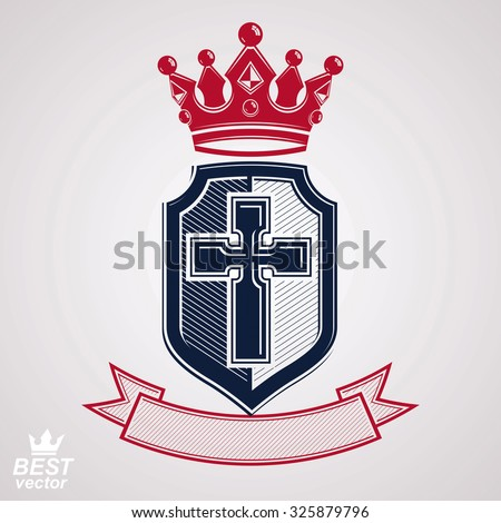 Imperial insignia, vector royal shield with decorative band and monarch coronet. Detailed eps8 coat of arms, king guard symbol with cross, web design element. Crusade. - stock vector