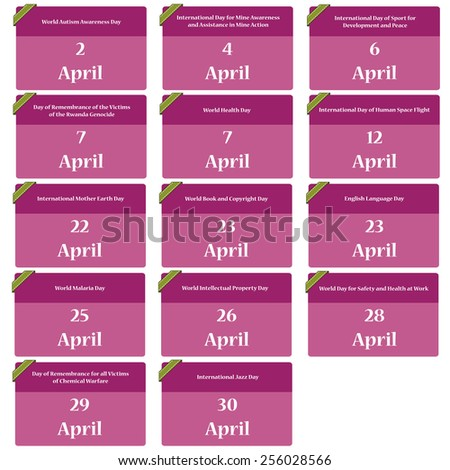 Important dates in april - reminder  - stock vector