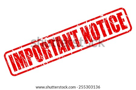 Important notice red stamp text on white - stock vector