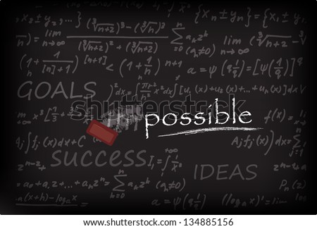Impossible Concept On Chalk Board - stock vector