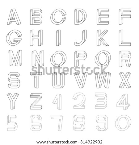 Impossible font set, including numerals. Raster dots pattern is applied. - stock vector